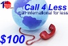 Call4less $100, international phone cards
