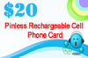 Pinless Rechargeable Cell Phone Card, USA (48 States), USA (48 States),USA (48 States)